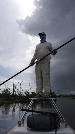 Capt. Brian Esposito poling in the Everglades no motor zone.