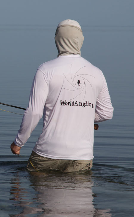 wading for bonefish in the Florida Keys with a WorldANGLING sun shirt