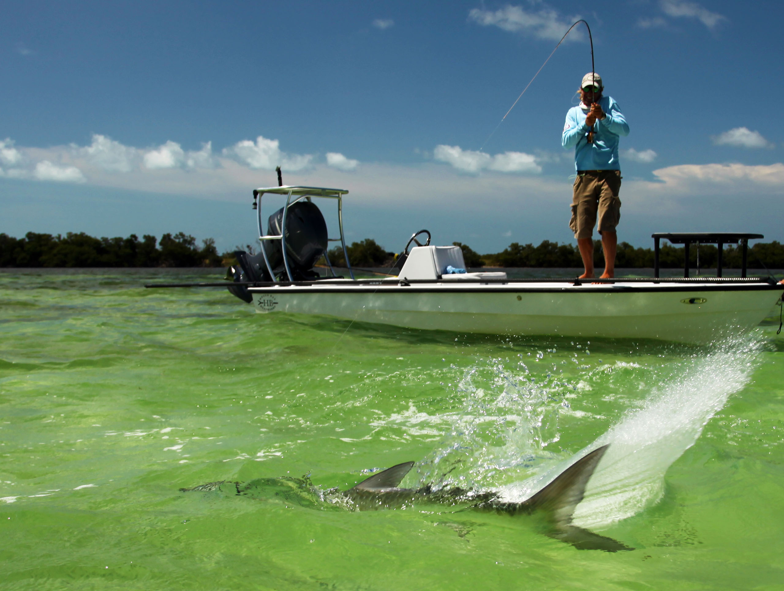 Tail exploding in the water with Jeff legutki fighting from the flats skiff.