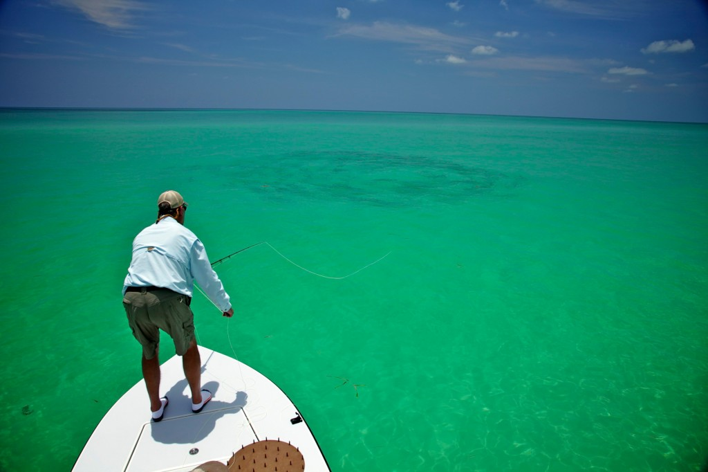 Jon Davis casts into a big daisy chain on the oceanside off Key West. Fly Fisherman's dream opportunity!